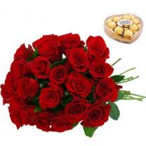 ▷ Ramos de Flores y Chocolates Ferrero Rocher - 24 Rosas Rojas