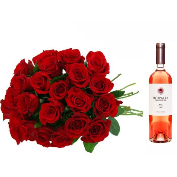 Arreglo de Rosas Rojas en Caja con Baileys