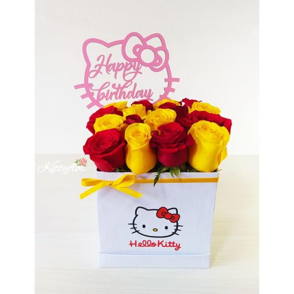 Hello Kitty Box con Rosas Rojas y Amarillas | Kittyflor