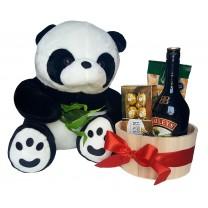 oso de peluche con Maceta de Madera Llena de Bombones Ferrero Rocher Baileys