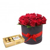 Box de Rosas mas Chocolate | 12 Tallos