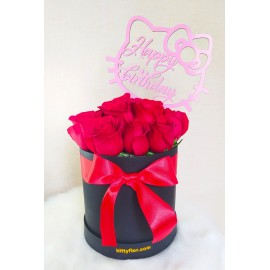 Box de Rosas Rojas con Topper Hello Kitty.