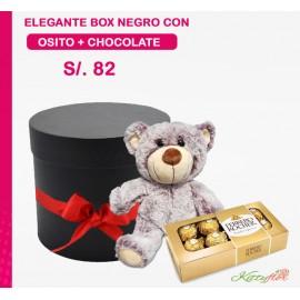 Peluche de Amor de Osito con Bombones de Chocolate en Elegante Box Negro