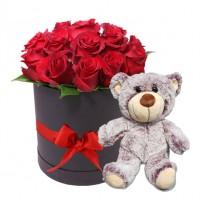 Box Negro de 12 Rosas Rojas con Osito