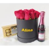 Box Rosas Rojas con Vino y Chocolate