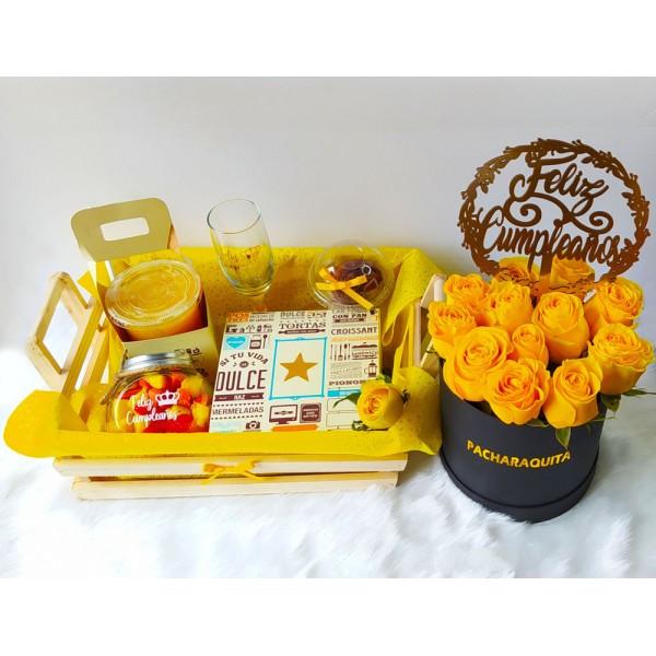 Desayuno Sorpresa en Lima con Box de Rosas Amarillas