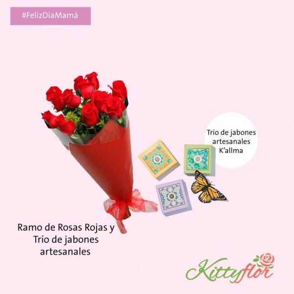 Ramo de Rosas Rojas con Trío de Jabones