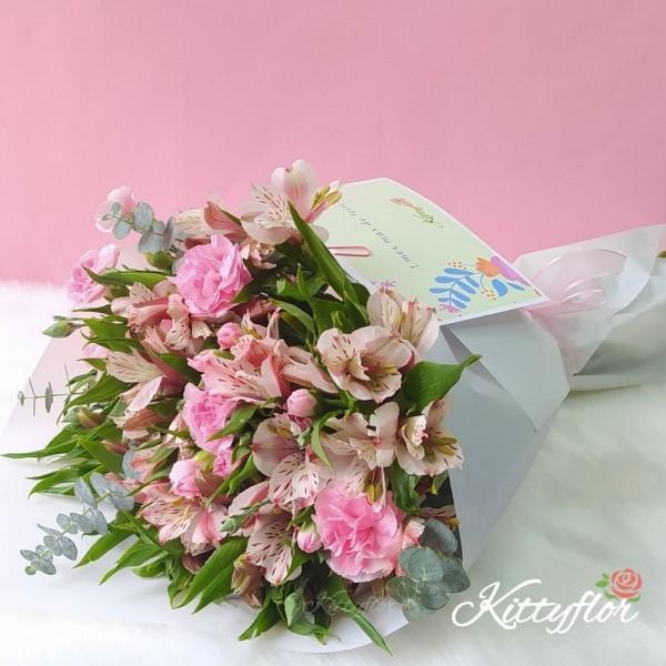 Hermosos Ramos de Flores | Claveles y Astromelias Rosadas