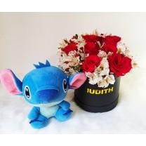 Box de Rosas Rojas con Peluche de Stitch ✅