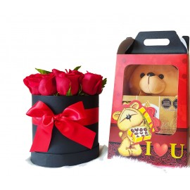 Peluches con Rosas en Box + Chocolate