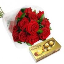 ▷ Ramo de Flores con Chocolates | 12 Tallos