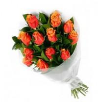 ▷ Rosas Naranjas - Ramo de 12 Tallos