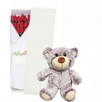 Caja de 12 Rosas con Peluche para Regalar