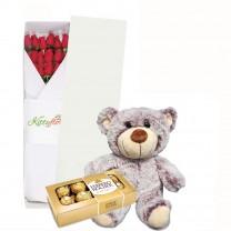 Caja de 12 Rosas con Peluches y Chocolates para Regalar